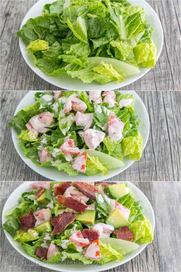 BLT Salad with Avocado from the @skinnytaste cookbook - Everything we love about a BLT in Salad form! | natashaskitchen.com