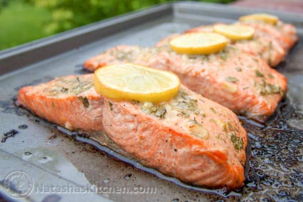 Baked Salmon with Garlic and Dijon | NatashasKitchen.com
