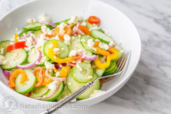 This Cucumber Salad is so easy & healthy. We couldn't stop eating it! @natashaskitchen