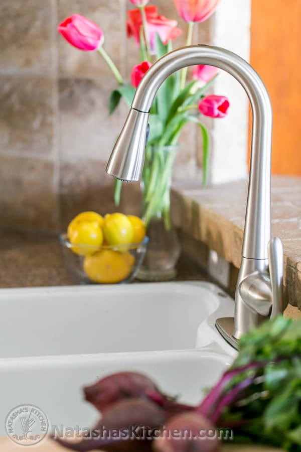 Kitchen remodel - this new motion sense faucet is awesome! @natashaskitchen
