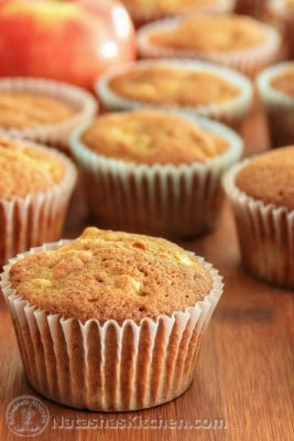 "These Apple Banana Muffins are a super alternative to ""boxed"" cupcakes. These are especially moist. Enjoy them as muffins with milk or your morning coffee."