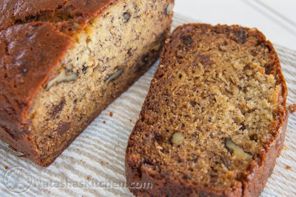 This Banana Bread is super moist and makes a great breakfast on-the-go. We never have over-ripe bananas that go to waste. So good!