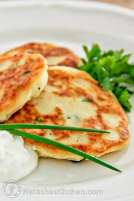 This Easy Mashed Potato Pancakes Recipe works for breakfast, lunch or dinner and it's a perfect use for left over mashed potatoes. Serve with sour cream.