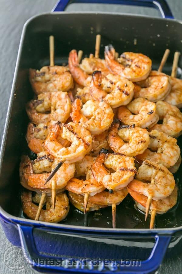 Grilled Garlic Cajun Shrimp Skewers Natashaskitchen Com