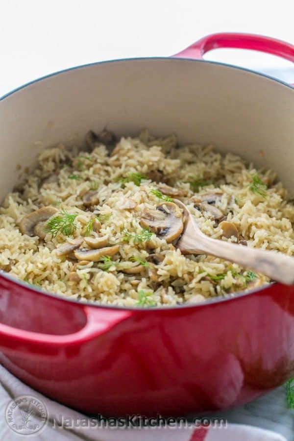 Mushroom Rice Pilaf Recipe (a one-pot meal). Delicious, easy, and has simple ingredients. | NatashasKitchen.com