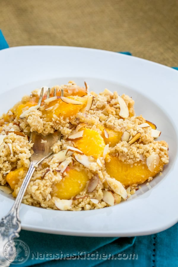 The oatmeal and almonds in this Peach Apricot crumble give it a crisp texture. Blow out your scented candles ladies; this is the real deal!