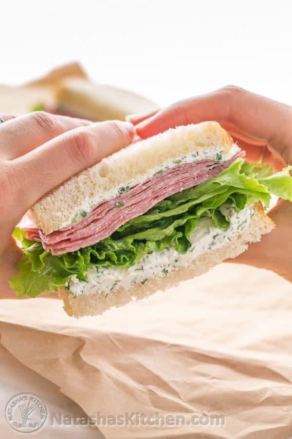 Mmm Salami... This salami sandwich with cream cheese spread can be made made in advance - Perfect for work or school lunch! | NatashasKitchen.com
