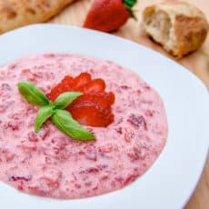 These Summer Strawberries and Cream are the perfect snack on a hot day. We loved it with fresh French bread. Every Ukrainian family makes this.
