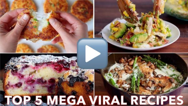 A screenshot that has four photos and says top 5 mega viral recipes