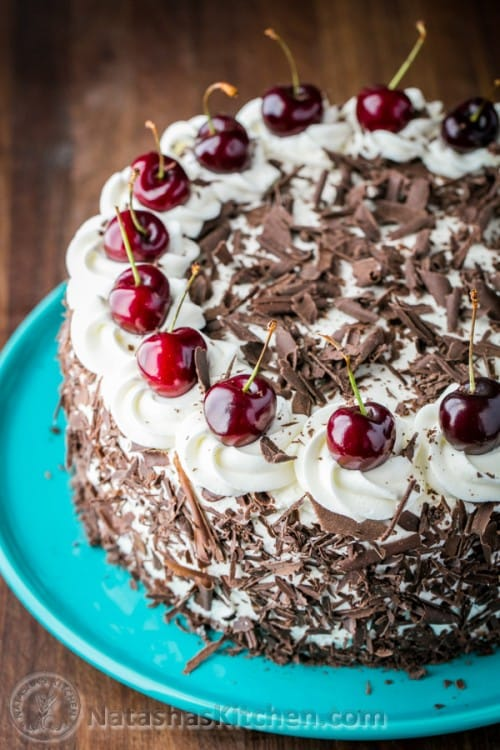 Chocolate Cake Cherries Whipped Cream