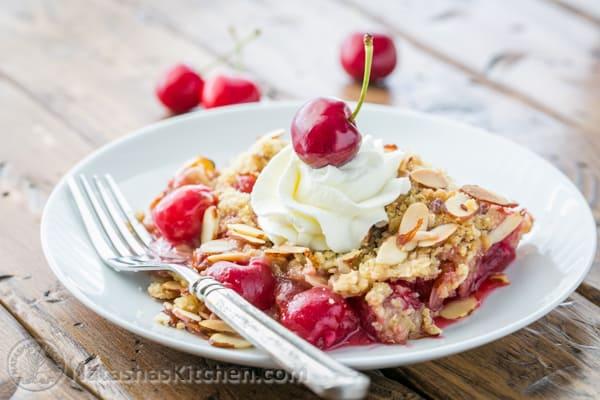 Cherry Crumble Recipe, Cherry Almond Crisp