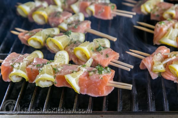 the grates then carefully place salmon skewers onto the hot BBQ. Grill ...