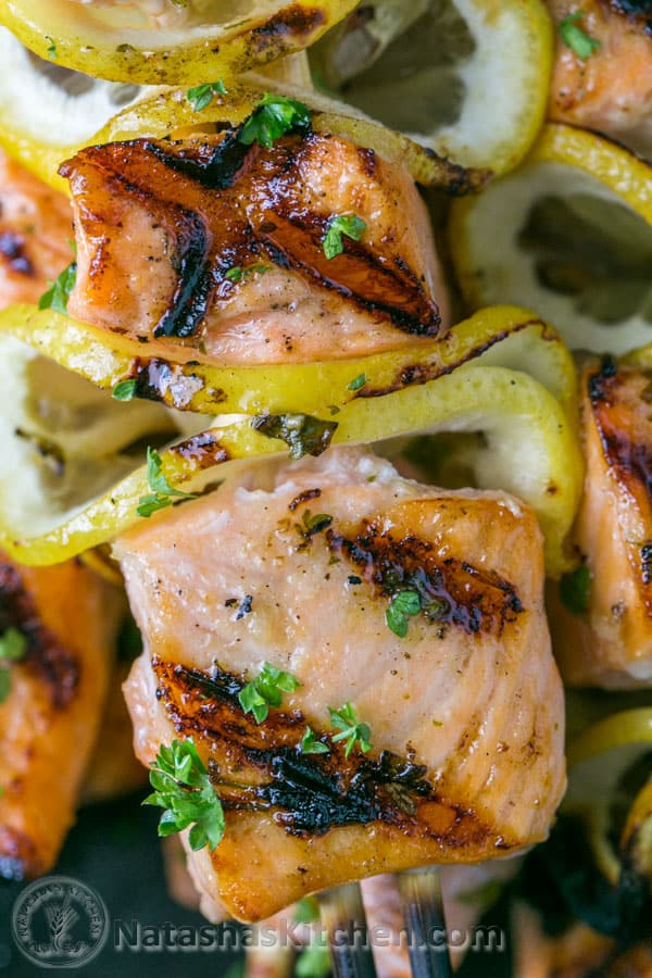 Easy grilled salmon skewers with garlic & dijon. Juicy with incredible flavor & takes less than 30 minutes ~ KEEPER! | natashaskitchen.com