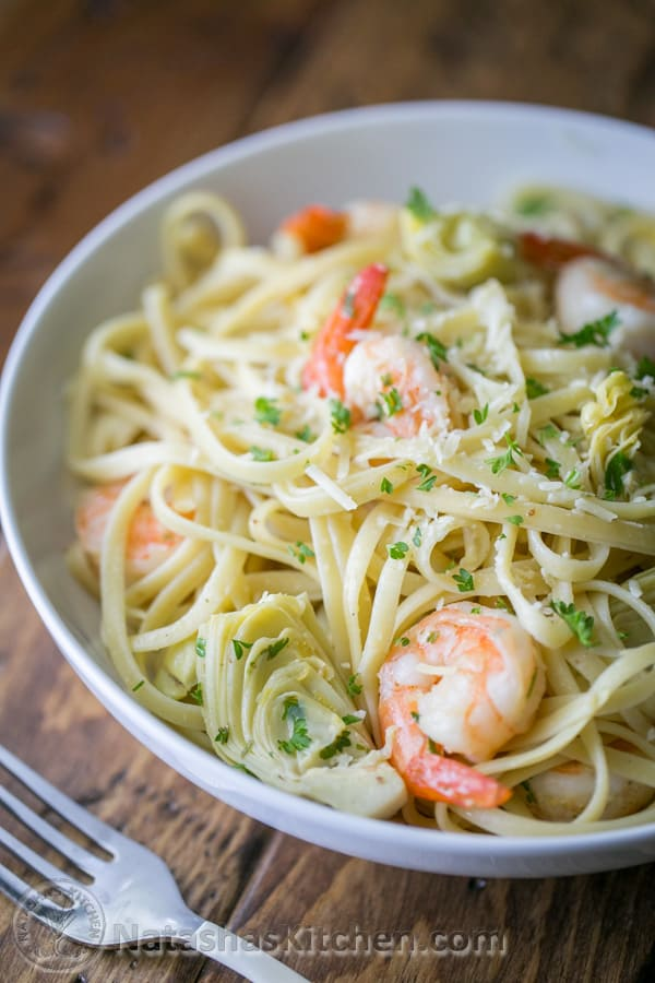 Shrimp and artichoke linguine, Shrimp Pasta, Pasta Recipe