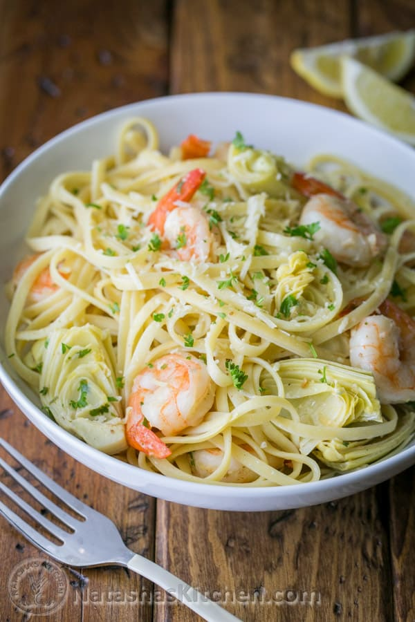 Shrimp and artichoke linguine, Shrimp Pasta, Pasta Recipe