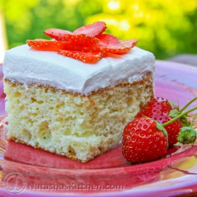 Yumm!! This moist and very simple Tres Leches Cake blew me away. The Tres Leches cake was moist but had a light feel to it.