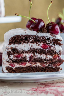 A piece of drunken cherry cake on a plate garnished with fresh cherries