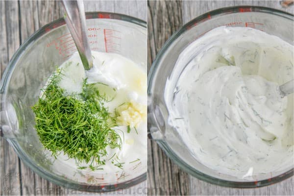 What are some recipes involving cucumber, onions and sour cream?