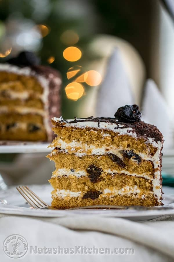 This prune honey cake rose beautifully and was stunningly tall. The layers are fluffy, moist, creamy, and studded with sweet prunes.