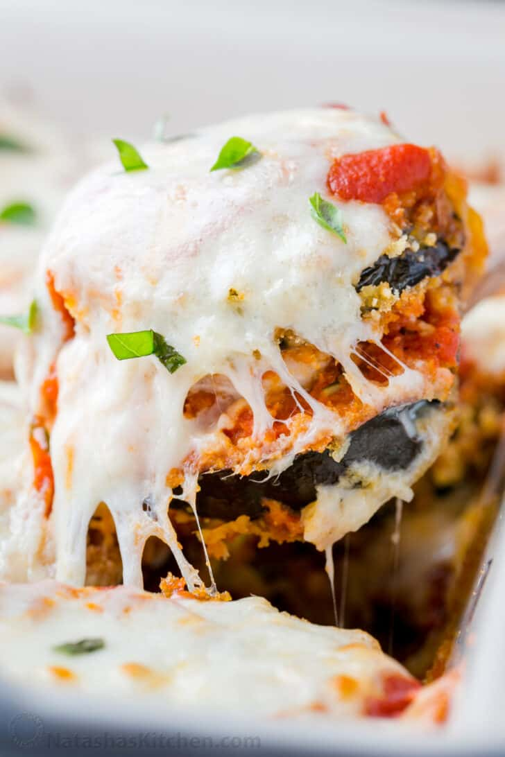 Mouthwatering slice of Baked Eggplant Parmesan