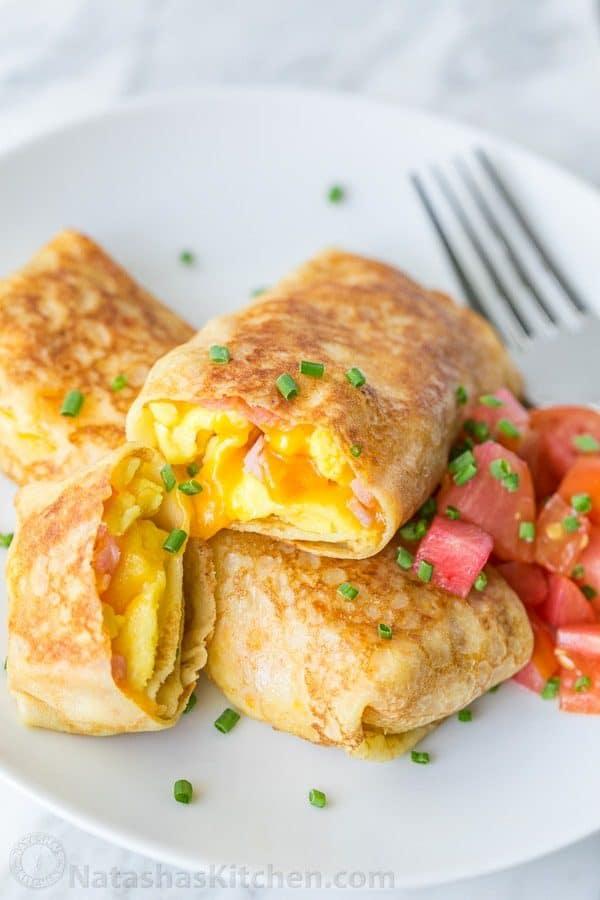 Egg Ham And Cheese Crepes Pockets