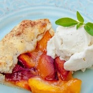 This peach galette is an easy desert and, it's fun to make. The pastry crust is flaky, crisp and perfect topped with a beautiful spread of juicy peaches.