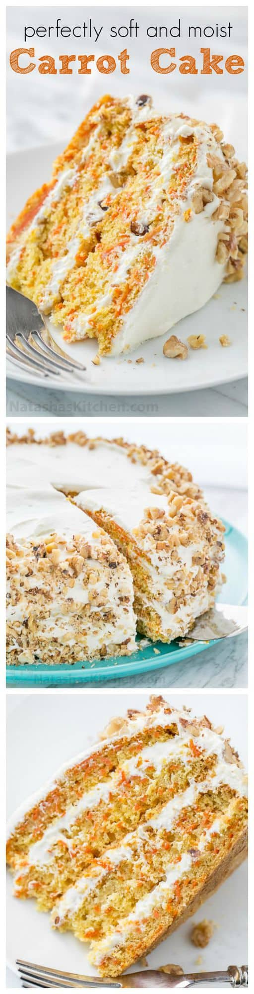 This Classic Carrot Cake recipe has been handed down through generations. Soft, moist, marshmallow-like frosting and not overly sweet. YUM! | natashaskitchen.com