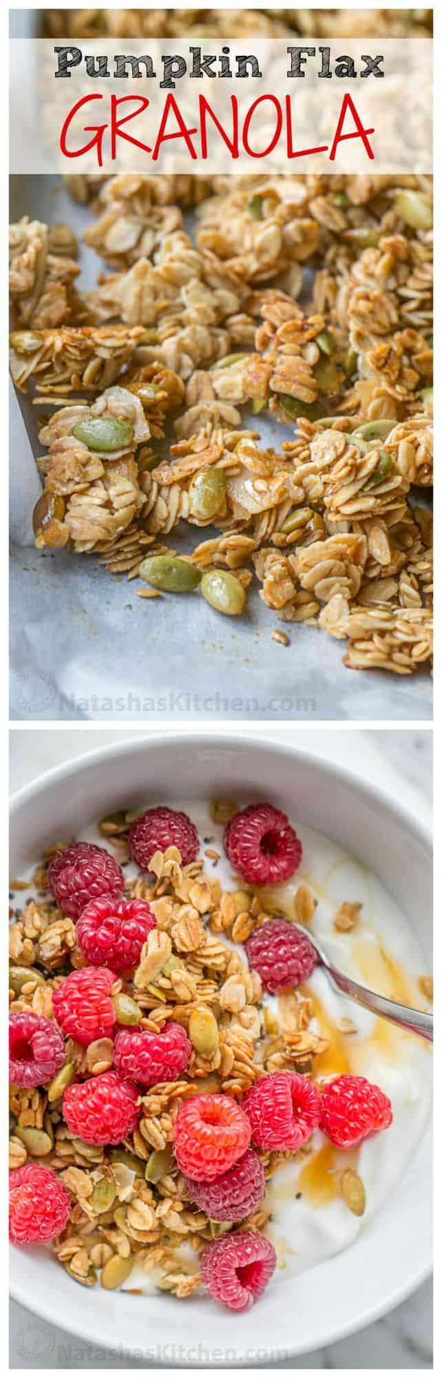 Pumpkin Flax Granola Recipe - crunchy, clustery and sweetened with honey | natashaskitchen.com