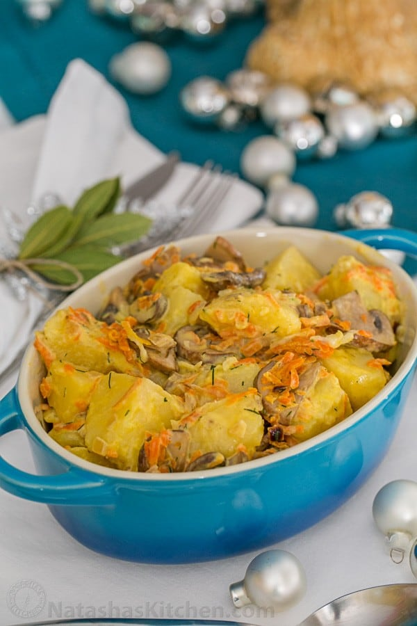 This Potatoes with Cream and Mushrooms recipe is one of my favorite recipes for potatoes. This recipe is made commonly at Ukrainian and Russian weddings.