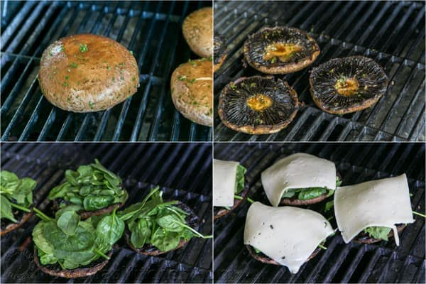 Spinach and Havarti Stuffed Portabello Mushrooms. The spinach softens under the melted cheese. Wow! Perfect as vegetarian sandwiches! | natashaskitchen.com