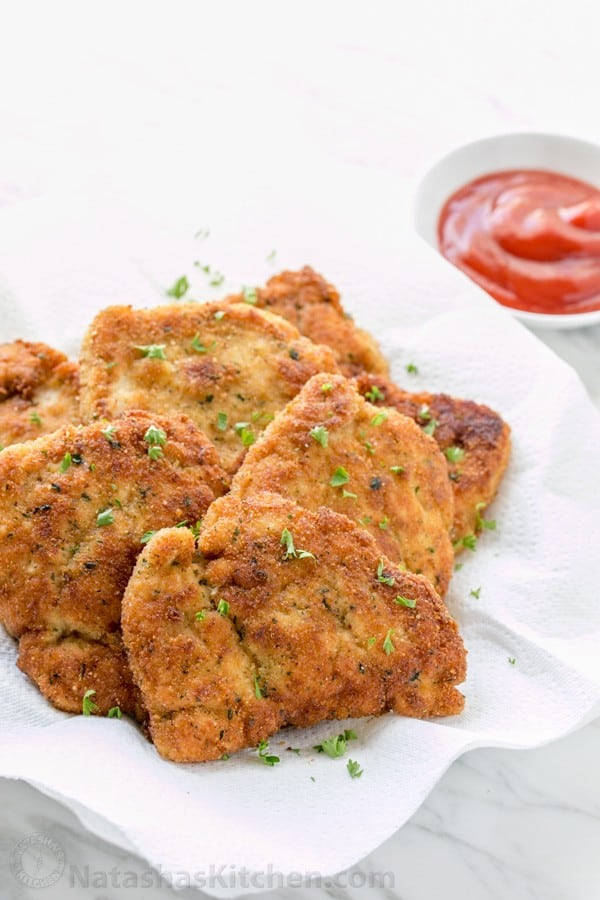 You can serve these easy chicken strips so many ways!! As an appetizer, with mashed potatoes for dinner or as chicken sandwich patties | natashaskitchen.com