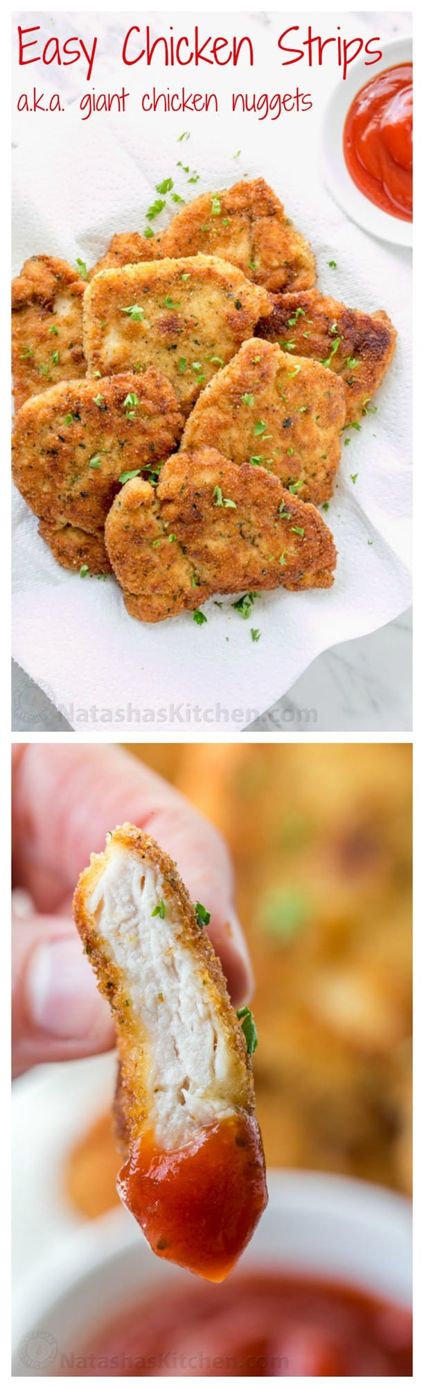 You can serve these easy chicken strips so many ways!! Dipped in sauce as an appetizer, next to mashed potatoes for dinner or as chicken sandwich patties | natashaskitchen.com