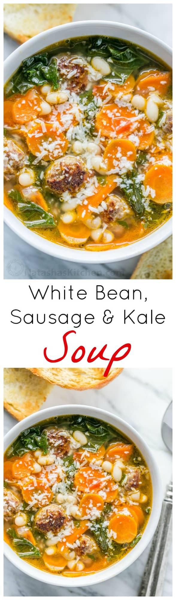 This White Bean, Sausage and Kale soup is wholesome comfort food. The sausages make fuss-free meatballs and infuse the soup with great flavor | natashaskitchen.com
