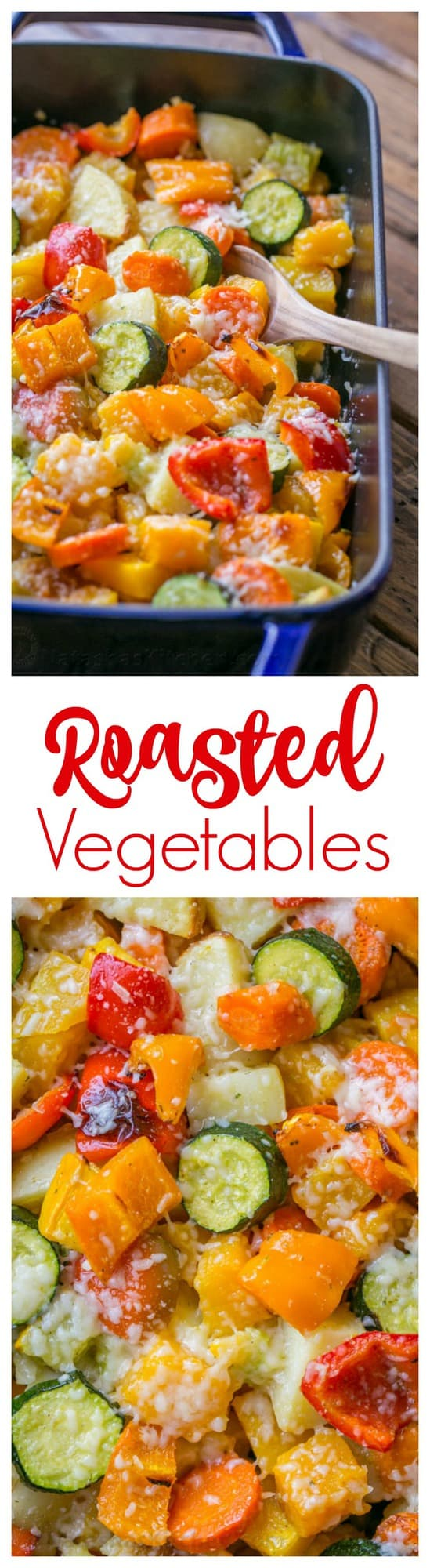 Roasted Vegetables uses the best of Fall veggies: butternut squash, potatoes, zucchini, carrots and bell peppers. Perfect holiday side dish!   natashaskitchen.com