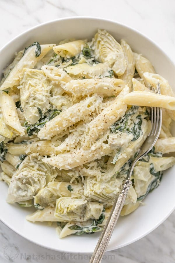 Spinach and Artichoke Pasta - Our favorite dip turned into a pasta! | natashaskitchen.com