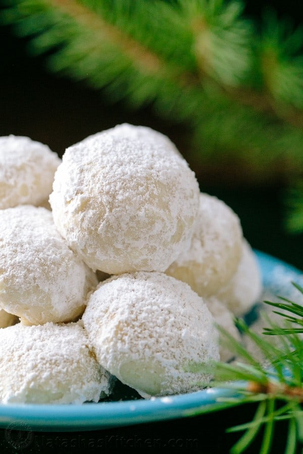Snowball Christmas Cookies on a platter