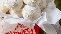 These almond snowball cookies just melt in your mouth. Perfect Christmas cookies since they look like darling little snowballs.