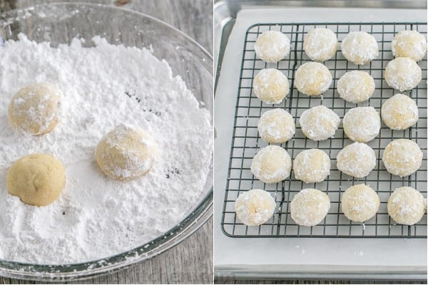 Rolling snowball cookies in powdered sugar