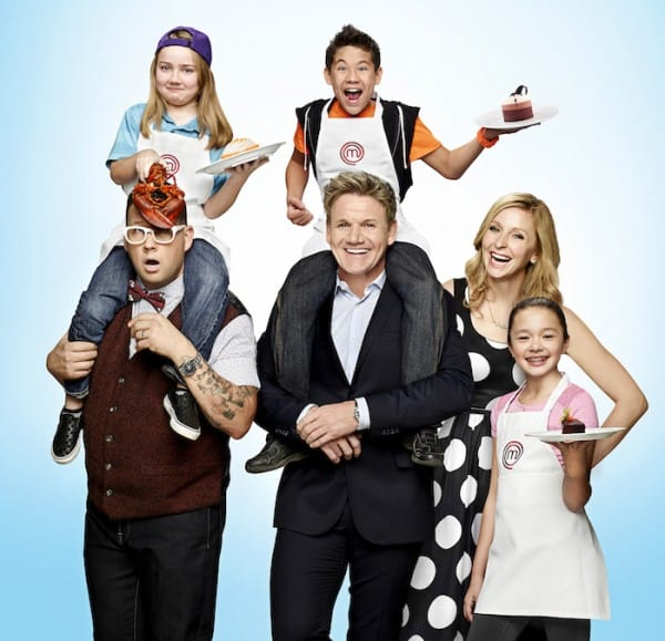 MASTERCHEF JUNIOR: Judges Gordon Ramsay, Graham Elliot and Christina Tosi find the next best junior chef in America, when MASTERCHEF JUNIOR returns Friday, Nov. 6 (8:00-9:00 PM ET/PT). Pictured L-R: Graham Elliot, contestant Addison, Gordon Ramsay, contestant Tae-Ho, Christina Tosi and contestant Kaitlyn. © 2105 FOX Broadcasting Co. CR: Brian Bowen Smith / FOX.
