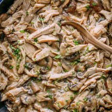 Turkey in Gravy is one of all all-time favorite leftover turkey recipes. Turkey in creamy mushroom sauce is so easy and always disappears fast.