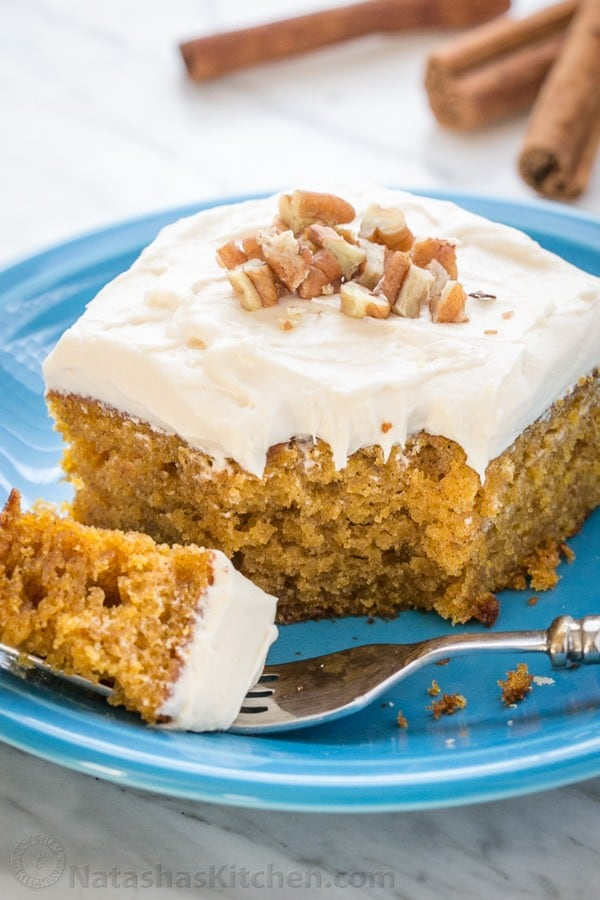 Pumpkin Cake Recipe topped with chopped walnuts