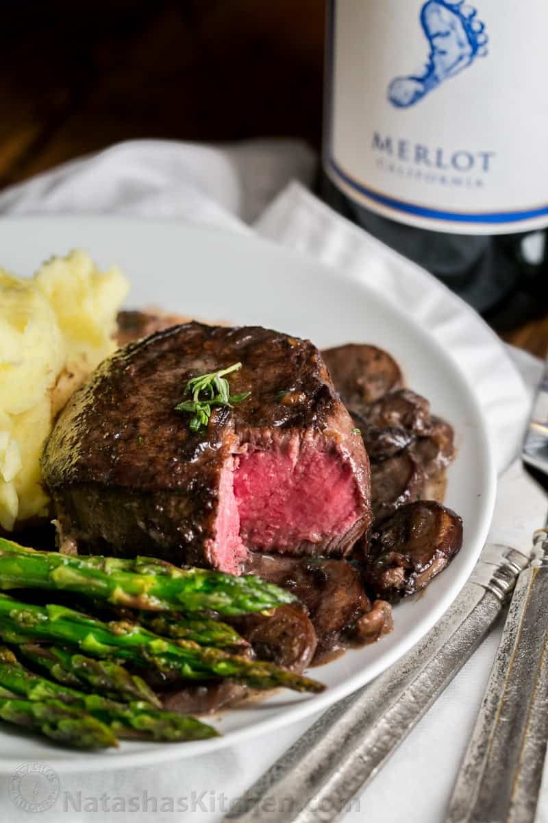 An easy, excellent recipe for filet mignon. The mushroom wine sauce is ...