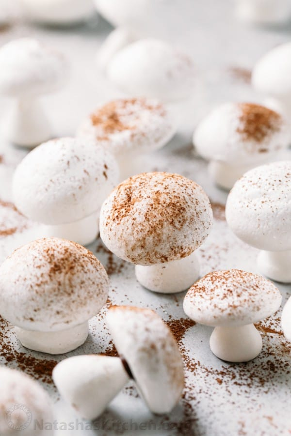 Meringue Mushrooms Recipe - Completely adorable meringue Christmas cookies perfect for decorating holiday cakes like the yule log! (step-by-step photos)