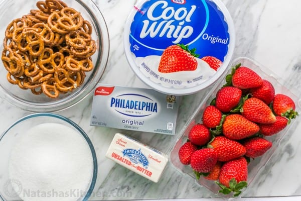 Ingredients for strawberry pretzel salad with cool whip substitute