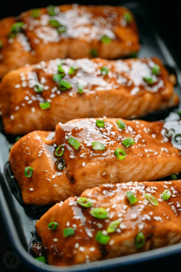 Teriyaki salmon recipe arranged on a serving platter is flaky and juicy