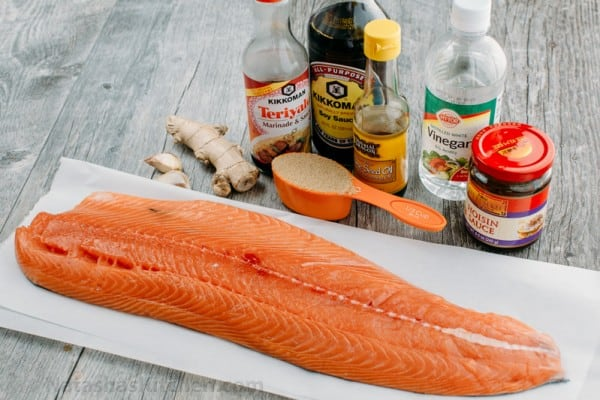 Ingredients for Teriyaki Salmon with everything you need to make teriyaki salmon