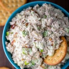 Tuna salad in bowl with crackers