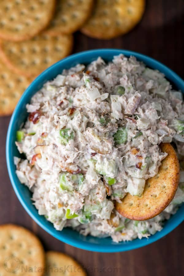 Tuna Salad Recipe in a Bowl with crackers for tuna salad spread