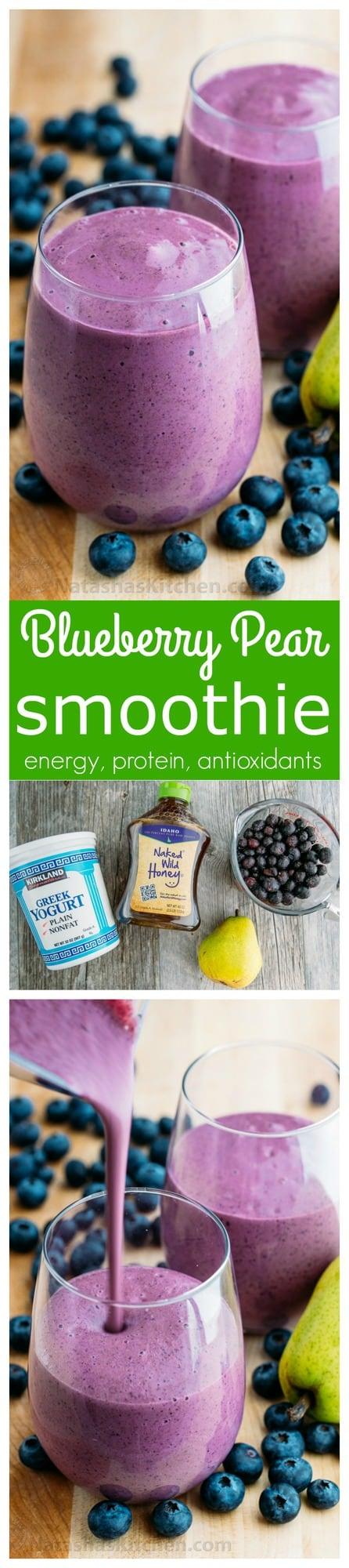 This blueberry pear smoothie is a great breakfast smoothie! It's energizing and packs a lot of protein. This pear smoothie is healthy, easy (with 4 ingredients) and so tasty!