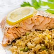 This oven baked glazed salmon recipe has a well-seasoned, tangy crust and it's so easy to make. The glaze seals in the wonderful juices in this oven baked salmon.